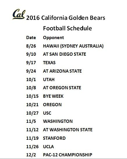 Printable 2016 California Bears Football Schedule