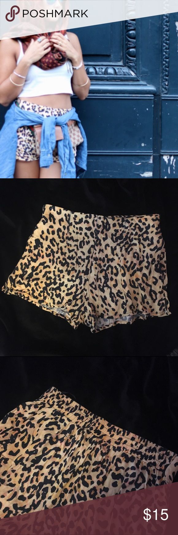 Leopard print shorts Lightweight, and in excellent condition! Bought in Australia at a boutique store. Elastic around the back waist. Has pockets! evil twin Shorts