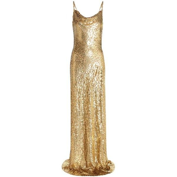 Michael Kors Collection Metallic Fil Coupé Dress ($3,575) ❤ liked on Polyvore featuring dresses, gowns, long dresses, cocktail/gowns, gold, gold evening gowns, long evening dresses, gold cocktail dress, gold gown and evening cocktail dresses