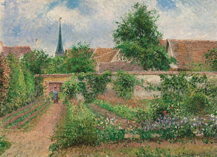 Camille Pissarro - Vegetable Garden Overcast Morning, Eragny. 1000 pieces. Camille Pissarro is a Danish-French impressionist and is known as the Dean of the Impressionist painters.  Vegetable Garden Overcast Morning is a beautiful work using a natural outdoor setting.