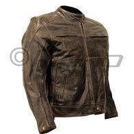 Frontier Dark Brown Vintage Leather Cafe Motorcycle Jacket