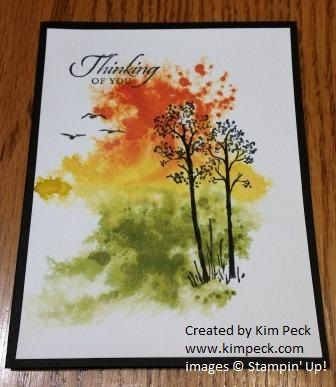 Watercolor spritz - trees. See my video tutorial at www.kimpeck.com.
