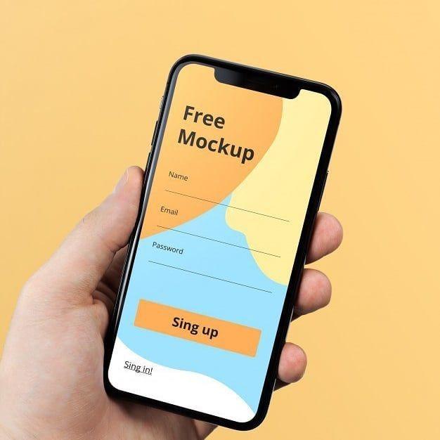 Iphone hand mockup free