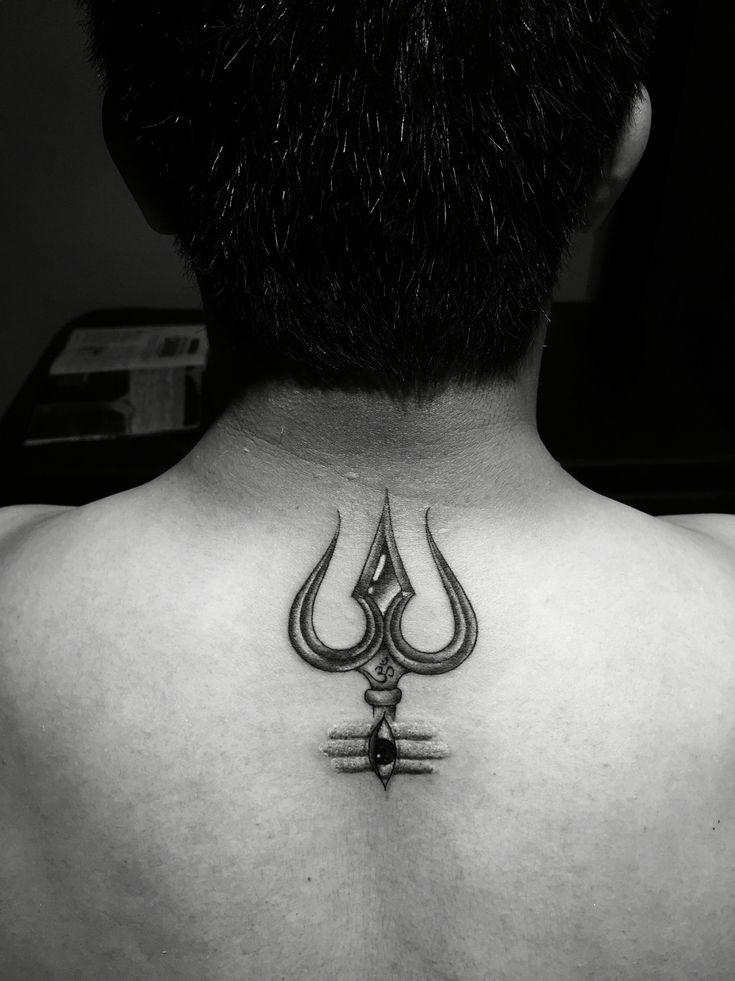 Trishul (Trident) tattoo with third eye of Lord shiva