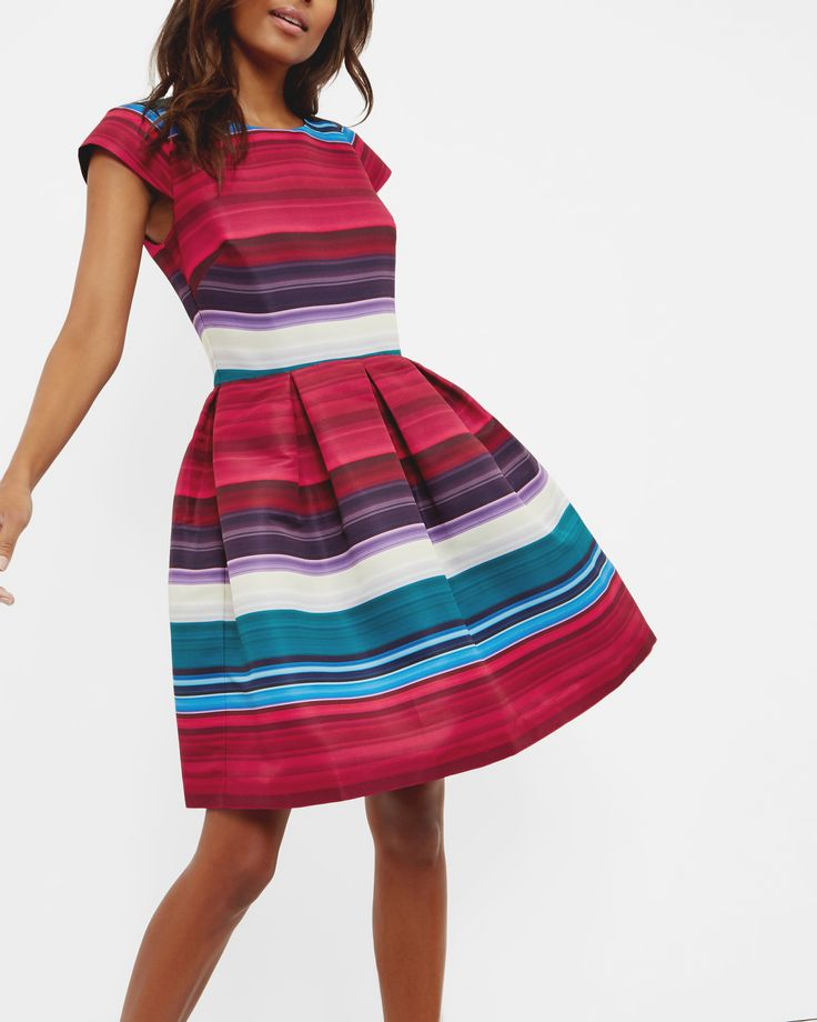 Striped pleated dress - Deep Pink | Dresses | Ted Baker