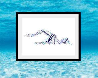 Impresión de nadar personalizados regalo de nadador por JandAprints
