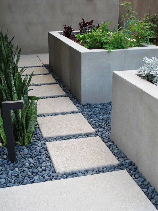 Interesting Large Outdoor Planter Boxes Designs With Interesting Decorating Tips: Contemporary Landscape With Square Pavers Concrete Rectangular Planter Boxes Garden Boxes And Path Tile Stone As Attractive Image ~ ilinksgroup.com Exterior Designs Inspiration