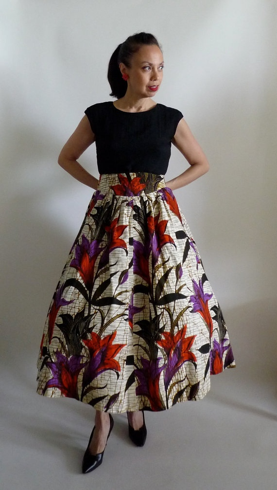 Fab Vintage 1950's Tropical Batik skirt