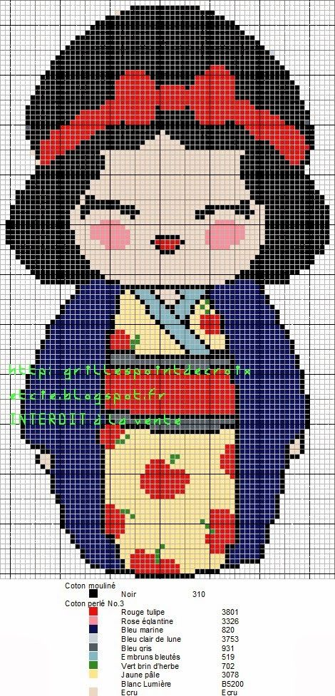 Encontrado en grillespoindecroixetcie.blogspot.fr     Snow White Kokeshi pattern by grilles point de croix et cie