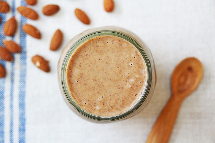Banana-almond-date shake. I used peanut butter instead of almond butter but added raw almonds and water to create almond milk.