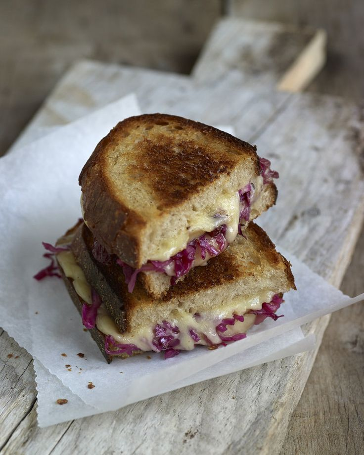 BEST GRILLED CHEESE EVER! Red Cabbage + jam for crunch and sweetness take this grilled cheese to the next level.