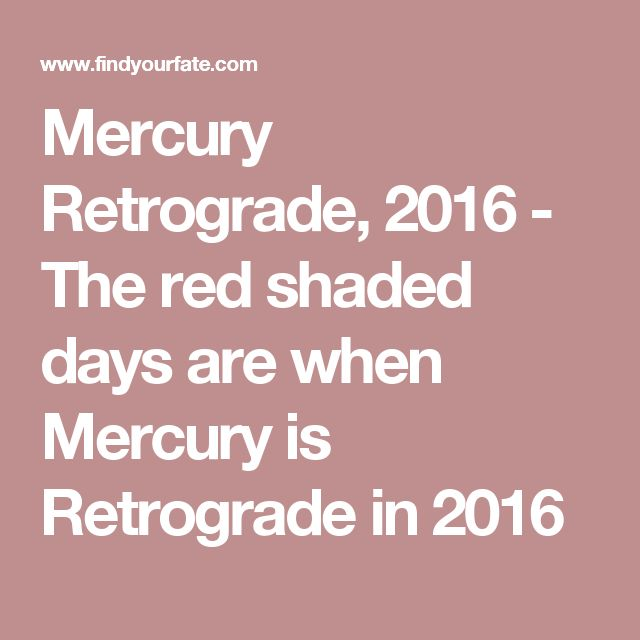 Mercury Retrograde, 2016 - The red shaded days are when Mercury is Retrograde in 2016