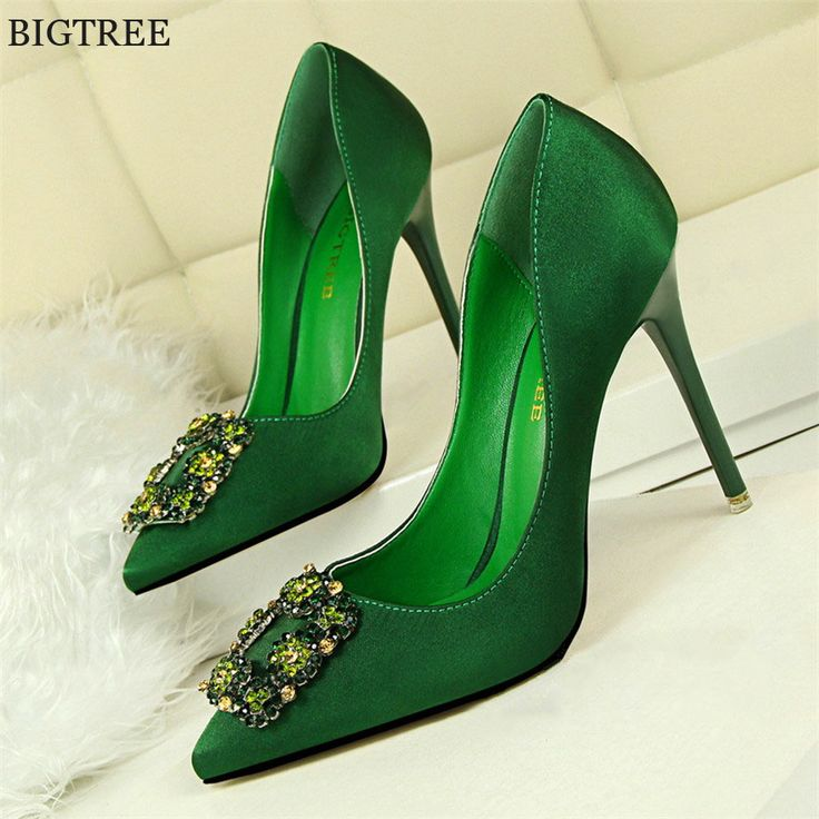 2017 New Fashion Crystal Metal Square Buckle Women Pumps Soft Silk High  Heels Shoes Sexy Pointed
