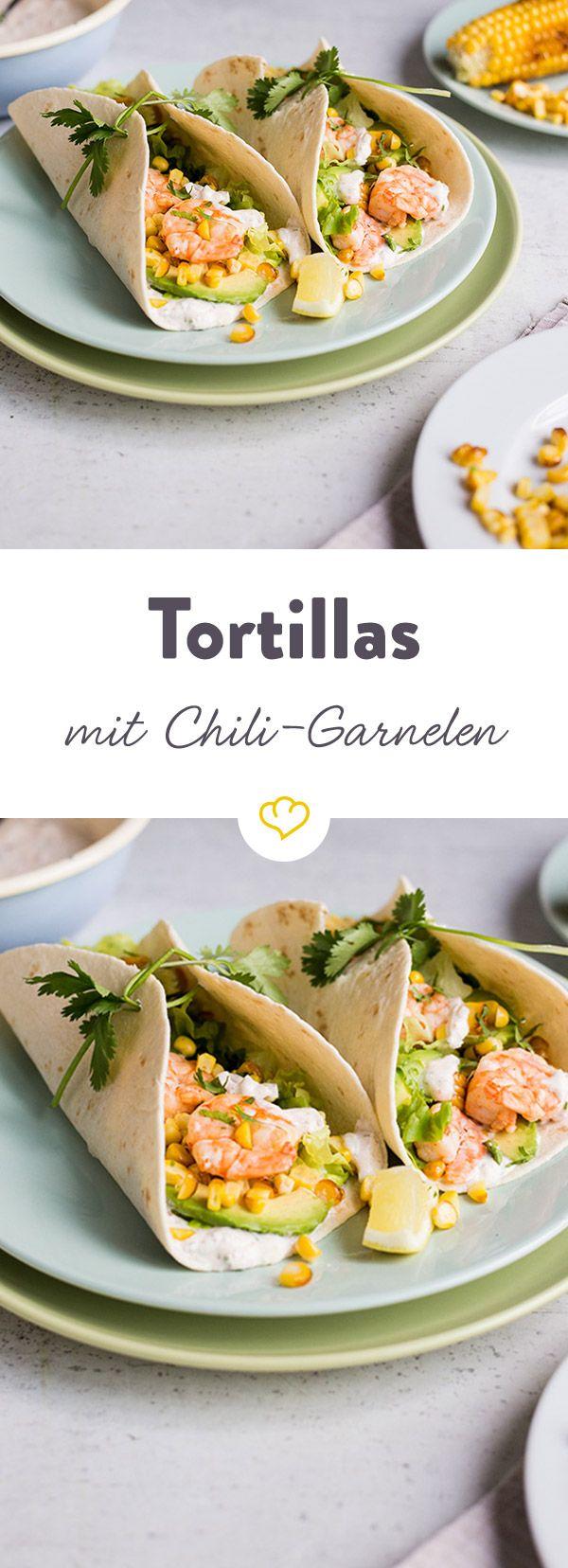 Frischer Koriander gibt den marinierten Garnelen und der würzigen Tortilla-Sauce den richtigen Pepp. Angenehm pikant, lecker und schnell gemacht!