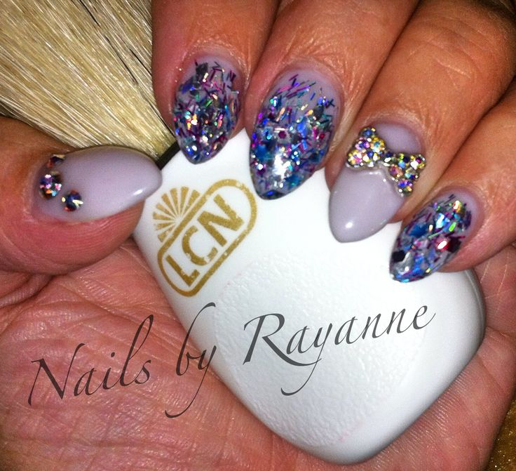 LCN sculptured nails with glitter mix, rhinestones and 3d rhinestone bows.