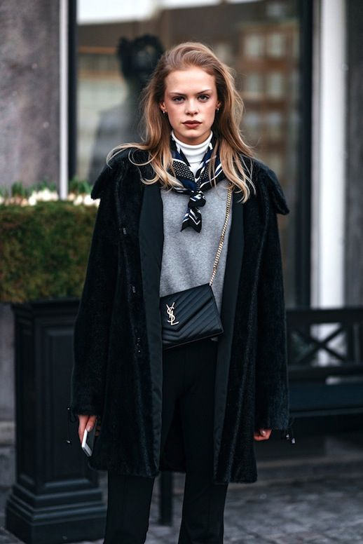 Classic! How To Wear A Printed Silk Scarf In Cold Weather