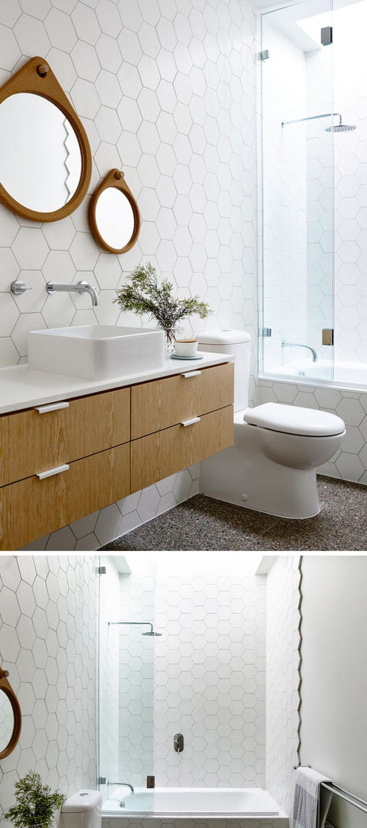19 Ideas For Using Hexagons In Interior Design And Architecture // The bathroom in this house features floor to ceiling white hexagonal tiles on the walls.