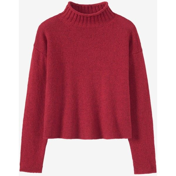 SOFT MERINO ROLL NECK SWEATER ($170) ❤ liked on Polyvore featuring tops, sweaters, roll neck sweater, merino wool top, roll neck top, red top and rollneck sweaters