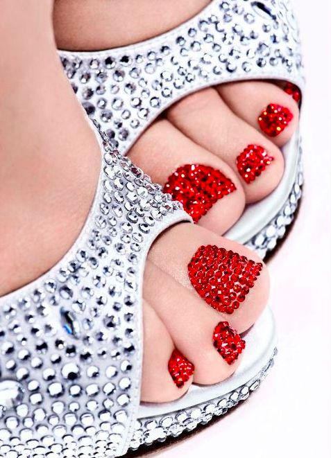 This is from Nails Inc. London's Facebook page. This looks SO cool! It says this was a special Christmas pedicure they offered in their London shoppes, and these are Swarovski Crystals that have been put on individually!!!