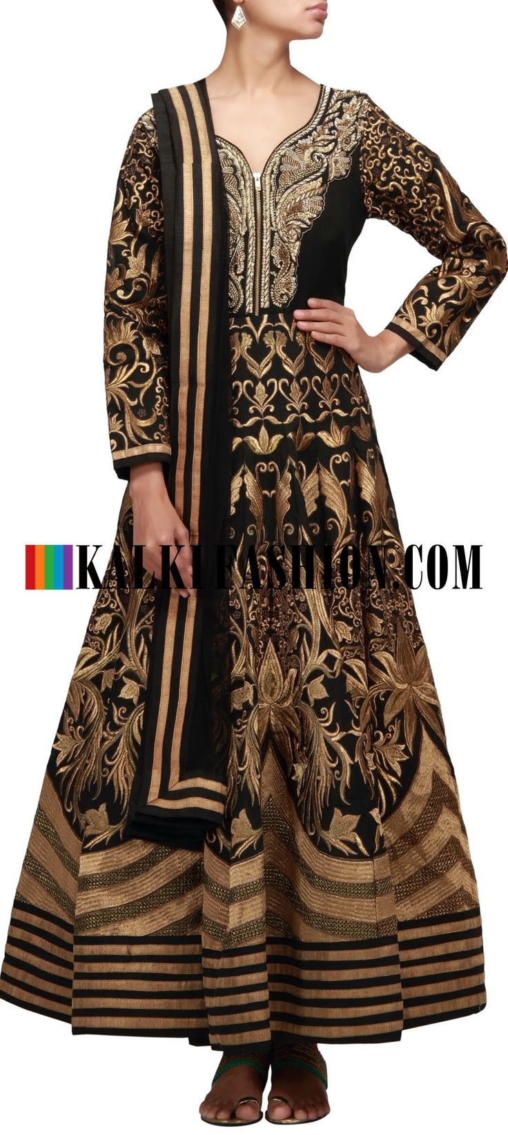 Buy Online from the link below. We ship worldwide (Free Shipping over US$100) http://www.kalkifashion.com/black-anarkali-suit-adorn-in-embroidered-neckline-and-kali.html Black anarkali suit adorn in embroidered neckline and kali