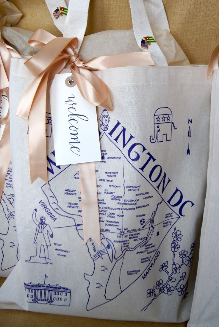 Washington, DC. Wedding Welcome Bag. Tote Bag. Ribbon. Calligraphy. Hang Tag. Wedding. www.marigoldgrey.com