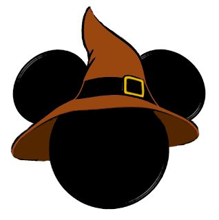 HALLOWEEN MICKEY MOUSE HEAD WITH WITCH HAT CLIP ART