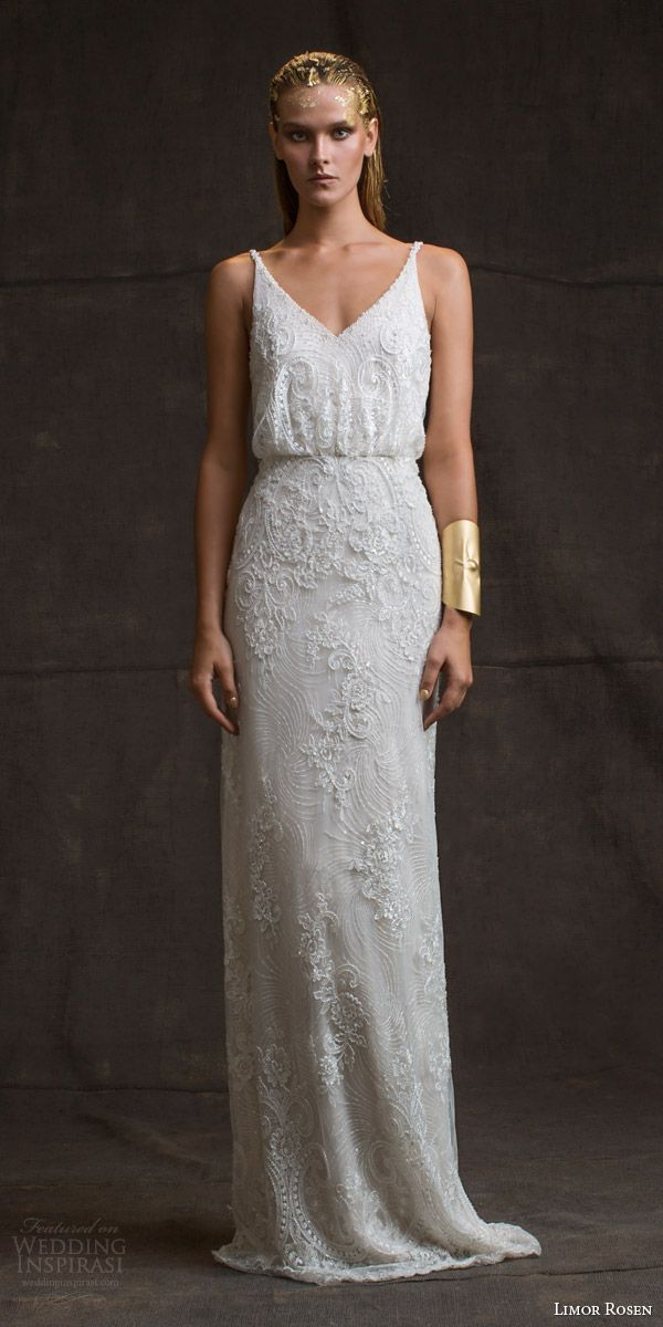 limor rosen bridal 2016 treasure sarina sleeveless lace wedding dress v neck straps blouson bodice