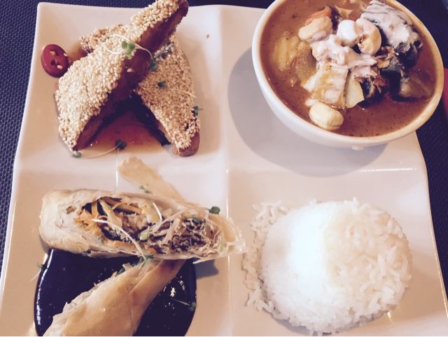 Giggling squid, Salisbury, Amazing Thai food. Lamb Massaman curry, prawn toast, duck spring rolls and jasmine rice - beautiful