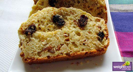 Healthy Cakes Recipes: Sultana and Oat Loaf. #HealthyRecipes #DietRecipes #WeightlossRecipes weightloss.com.au