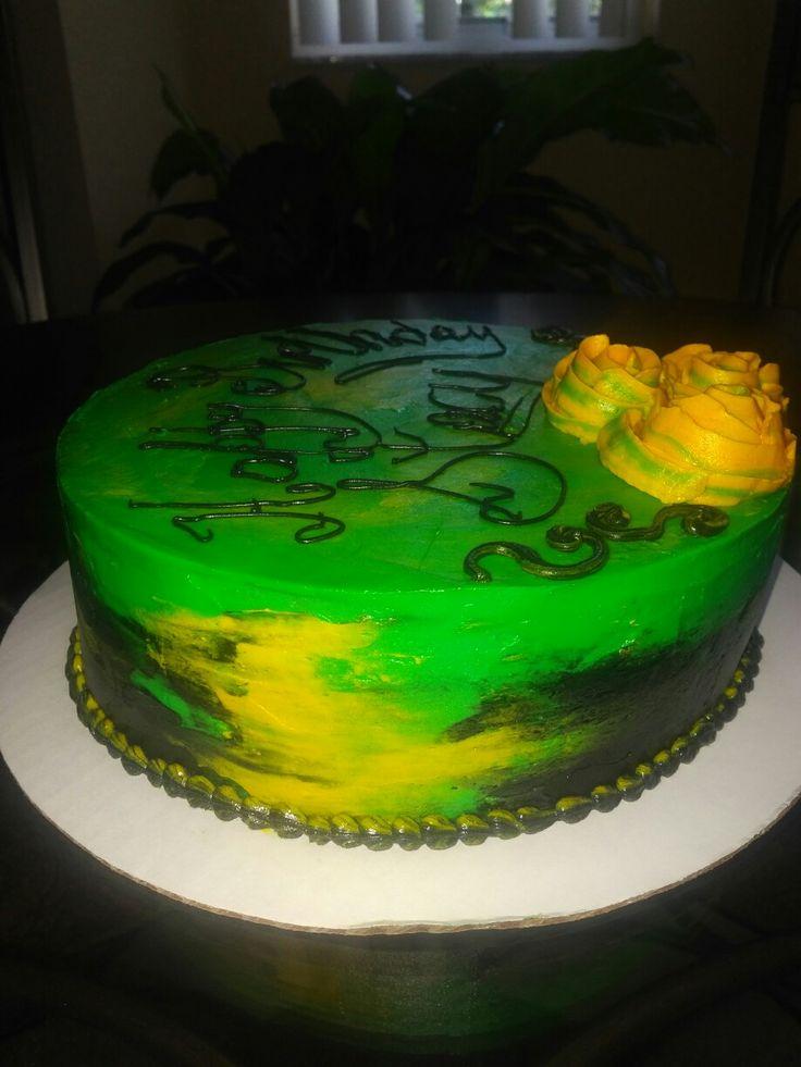 Ombre Jamaica Flag Colors Cake