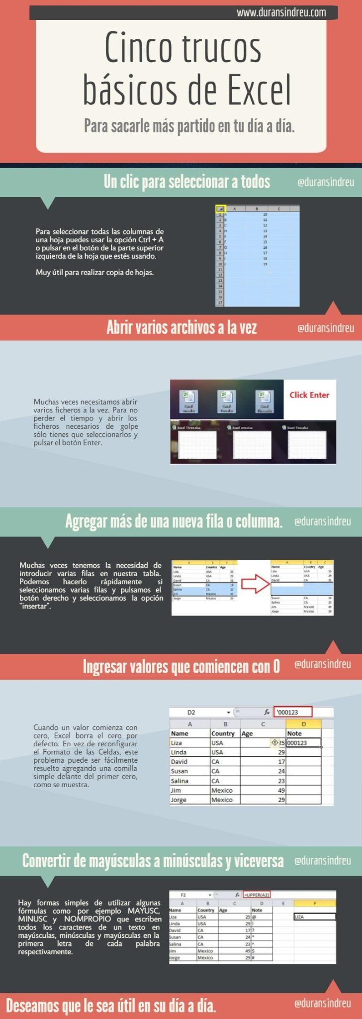 5 trucos básicos de Excell.- #infografía #sm http://joseantonioantolin.com/5-trucos-basicos-de-excell-infografia/