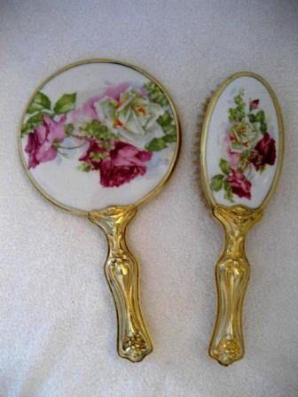 Antique Art Nouveau Dresser Hand Mirror Brush Set Large