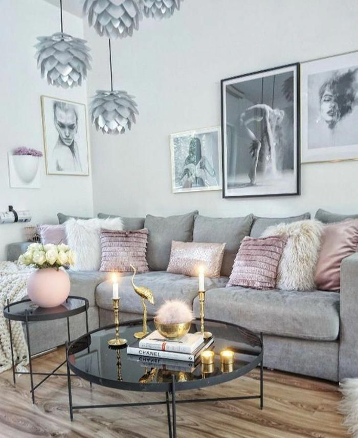 Deco Salon En Gris Et Rose Poudre Chambre Rose Poudre Et Taupe