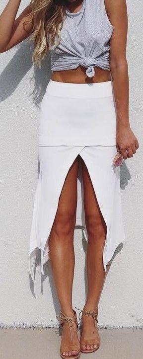 #summer #cool #outfits   Grey Tank + White Skirt Splits