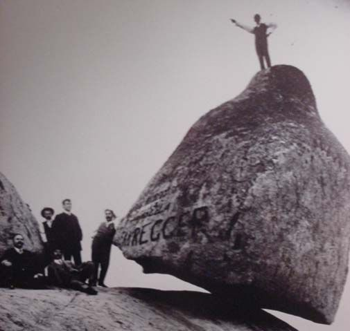 "The ""Piedra Movediza"" (""Moving Stone""), a large boulder which stood seemingly miraculously balanced on the edge of a rocky foothill. The Moving Stone toppled on February 29, 1912, and split into two pieces at the bottom of the hill.  -from ""Diario La Capital,"" Mar del Plata, Argentina, March 17, 1916."
