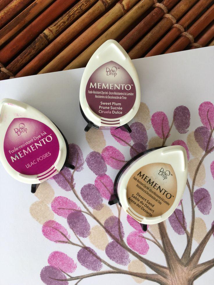 set of 3 pink, purple and tan fingerprint tree stamp pads, memento dew drop stamp pads, fingerprint ink pads, fingerprint tree mini