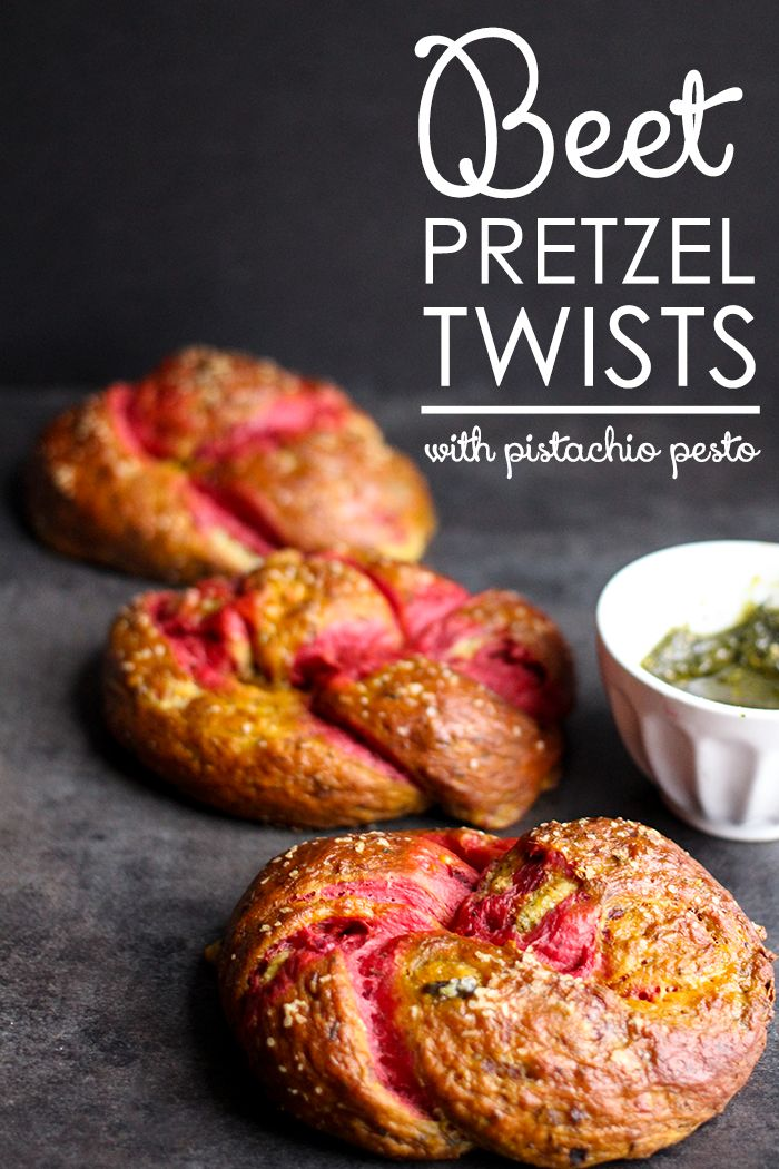 Beet Pretzel Twists with Pistachio Pesto | Stuffed with cheese and dunked in pesto, these twists are perfection! #pretzels