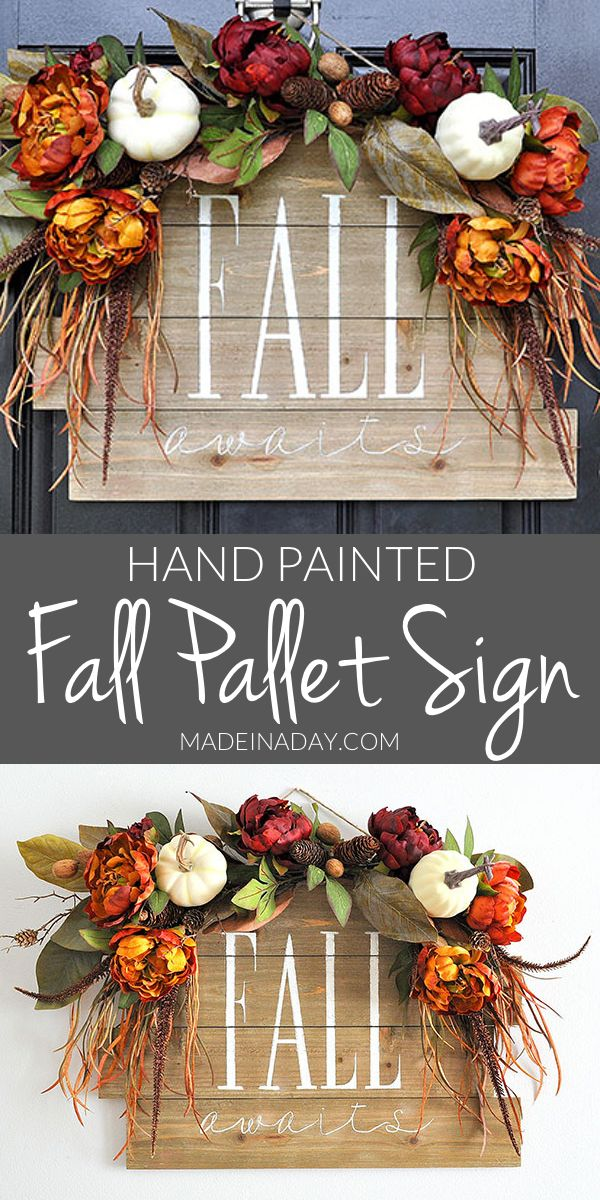 Fall Awaits Hand Painted Pallet, Grab all the supplies @HobbyLobby to create this beauty. #sponsored #ad Pallet sign, paint a pallet, fall sign, how to hand-paint a pallet sign, fall door hanger, hand painted sign
