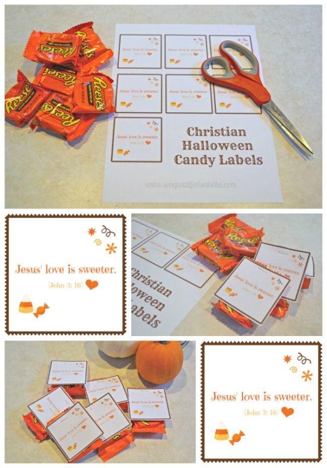 Printable Christian Halloween Candy Labels | Jesus Love is Sweeter John 3: 16