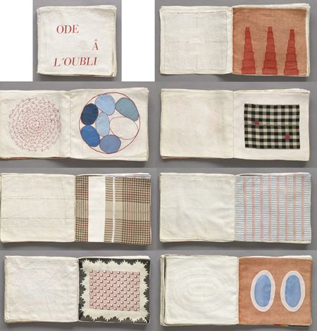 """Louise Bourgeois. Ode à l'oubli. 2002. Fabric illustrated book with 35 compositions: 32 fabric collages, 2 with ink additions, and 3 lithographs (including cover), page (each approx.): 11 3/4 x 13"""" (29.8 x 33 cm); overall: 11 x 12 3/16 x 1 ¾"""" (28 x 31 x 4.5cm)."""