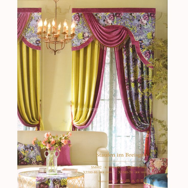 Country Elegant Curtains Floral Jacquard Cotton.