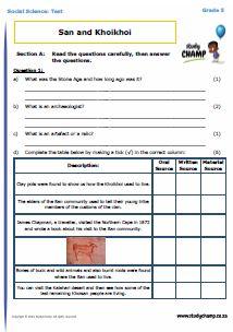 Social Science : Grade 5: Social Science Test - San and Khoikhoi