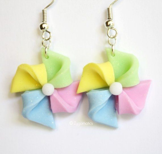 Pinwheel polymer clay earrings - I don't like these colours but it is a really simple, easy technique.