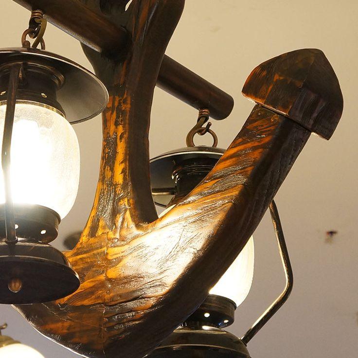 Купить товарСтаринные антикварные якорь сарай фонарь кулон керосин висит освещение стекла латунь деревянный H45 * W50 * L18cm в категории Настенные светильникина AliExpress.  .