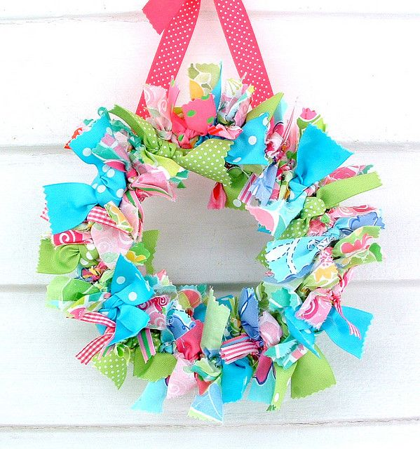 preppyLilly Pulitzer, Ribbons Wreaths, Rag Wreaths, Fabrics Scrap, Easter Wreaths, Fabrics Wreaths, Spring Wreaths, Ribbon Wreaths, Summer Wreath