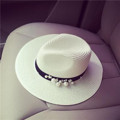 Women Flower Beads Wide Brimmed Jazz Summer Beach Hat
