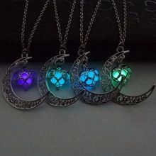 Moon Glowing Necklace,Turquoise Charm Jewelry,Silver Plated,Halloween Gifts(China (Mainland))