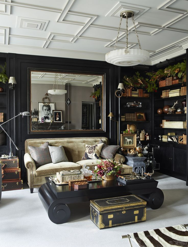 Eclectic black living room // See more of Hubert Zandberg Interiors's Chelsea Apartment on 1stdibs