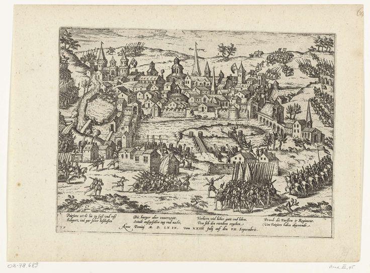 Frans Hogenberg | Beleg van Poitiers, 1569, Frans Hogenberg, Jean Perrissin, 1565 - 1573 | Beleg van Poitiers, 24 juli tot 7 september 1569. Gezicht op de belegerde stad. Met onderschrift van 8 regels in het Duits. Genummerd: 27. Blad afkomstig uit een album dat uit elkaar is gehaald. Rechtsboven genummerd (in pen): 68.