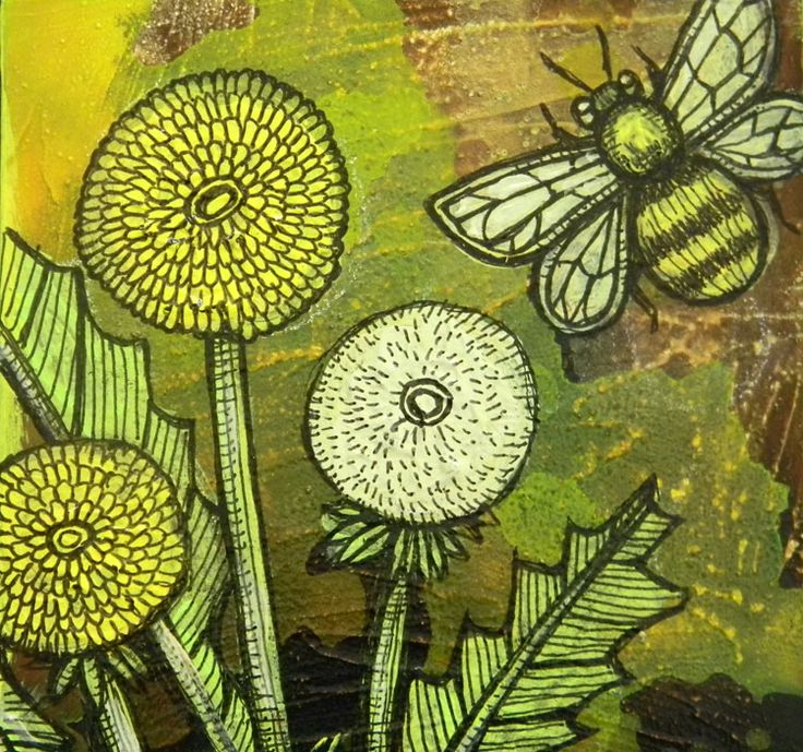 bumblee dandelion painting by Lynnette Shelley